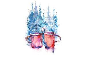 Winter still life cups of hot coffee