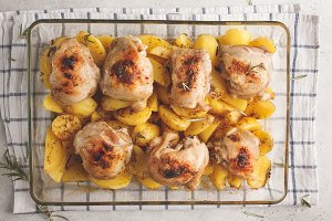 Homemade baked potatoes with chicken