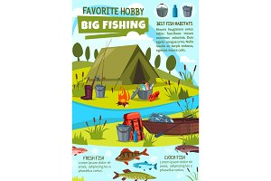 Fishing hobby with fisher camp