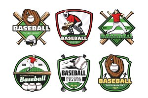Baseball sport club and team icons