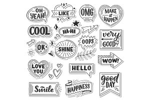 Stickers of quotes and sound blasts