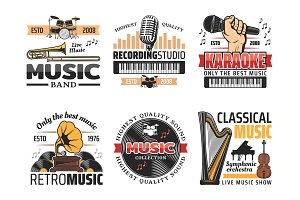 Music record studio and band icons
