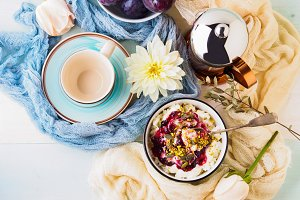 Breakfast with bowl of fresh quark