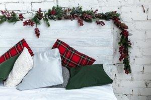 New year white bedroom interior Happ
