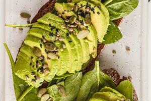 Avocado toast with hemp seeds