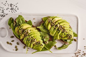 Avocado toast with hemp seeds