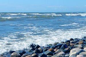 Pebble Beach Sea Waves