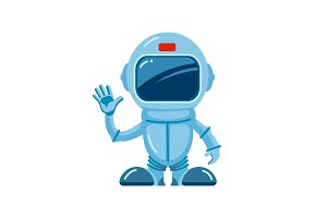 spaceman pointing. hello cartoon
