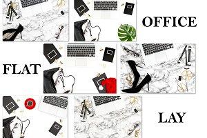 Office desk flat lay social media