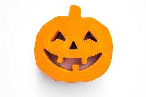 Halloween pumpkin face close up on t