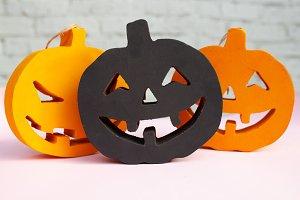 Halloween pumpkins orange and black