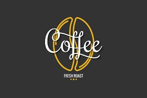 Coffee bean logo with vintage