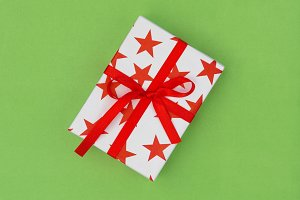 Gift box red stars white green