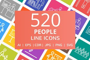 520 People Line Multicolor B/G Icons