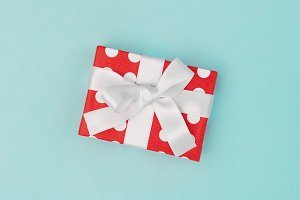 Gift box decoration red white blue