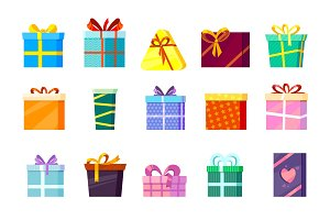 gifts boxes. colored xmas valentine