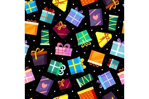 gifts boxes pattern. colored xmas