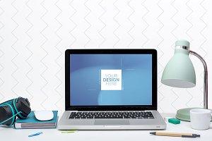 Laptop home office web design mockup