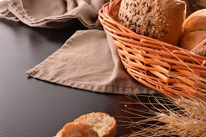 Bread on basket on fabric elevated