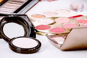 Makeup cosmetic set on table