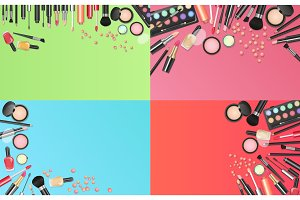 Colorful cosmetics background