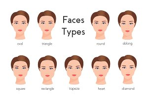 Vector woman face types.