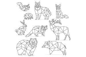 Low poly line animals set.