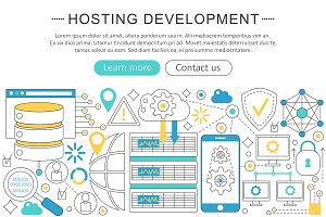 Vector hosting development concept.