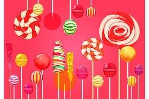 Red pink sugar lollipops background.
