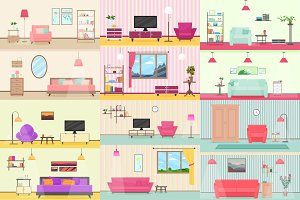 Colorful livingroom interior set