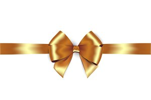Shiny golden satin ribbon. Vector