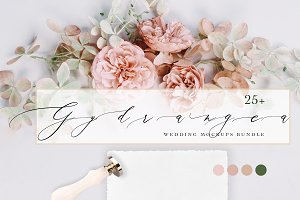 HYDRANGEA. WEDDING MOCKUPS BUNDLE.