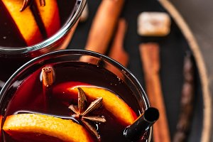 Hot mulled wine with spices, apple