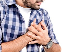 Man suffering from chest pain