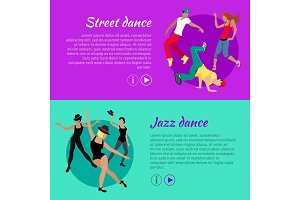 Set of Dancing Vector Web Banners in