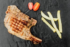 Grilled Pork chop on black