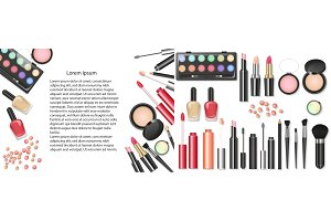 Vector makeup cosmetics background
