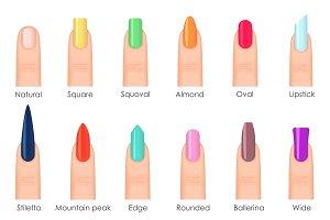 Nails shape icons set