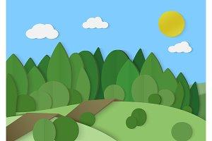 Forest cardboard paper landscape.