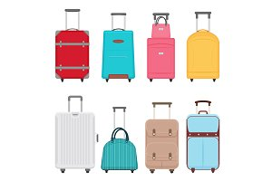 Vector cartoon travel bags set.