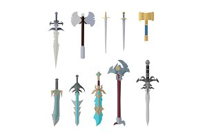 Set of Fantastic Game Weapon Vector
