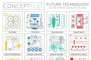 Future technology concept icons.