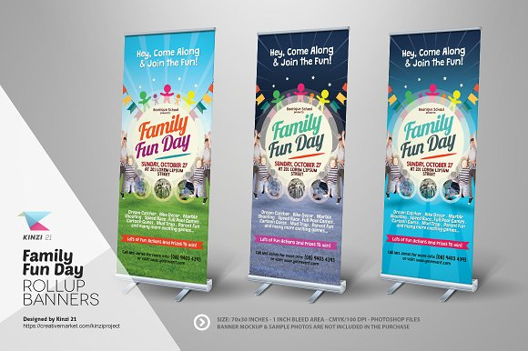 family fun day roll up banners flyer templates creative market