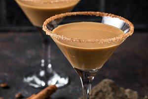 Chocolate martini cocktail or Irish
