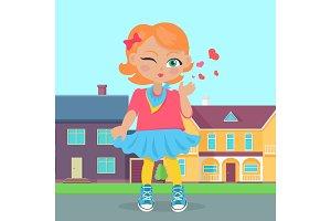 Young Girl Sent Air Kiss. Vector
