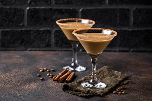 Chocolate martini cocktail or Irish