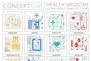 Medicine health concept icons.
