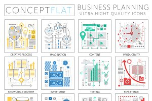 Business finance planning icons.