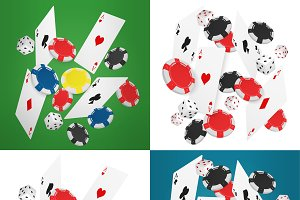 Casino aces cards with chips