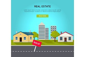 Real Estate Vector Web Banner in